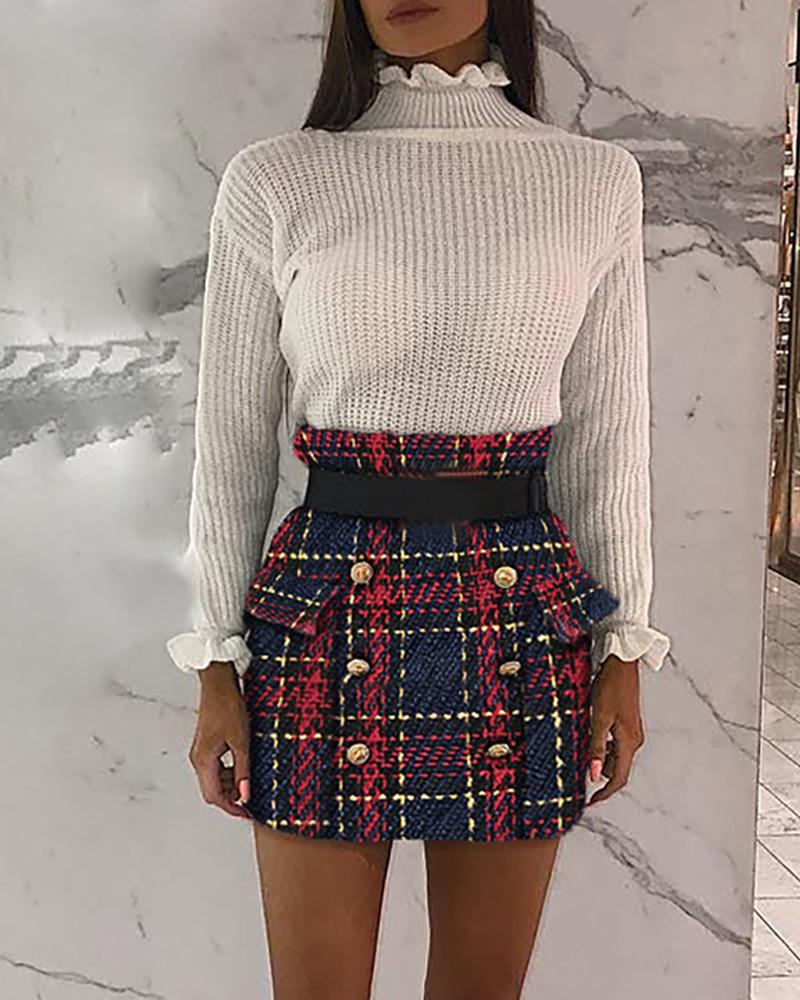 ivrose / Mini saia casual abotoada grade