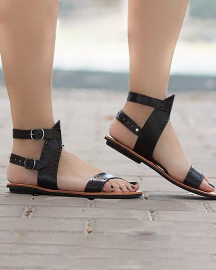 Eyelet Buckled Single Strap Flat Sandals, Black