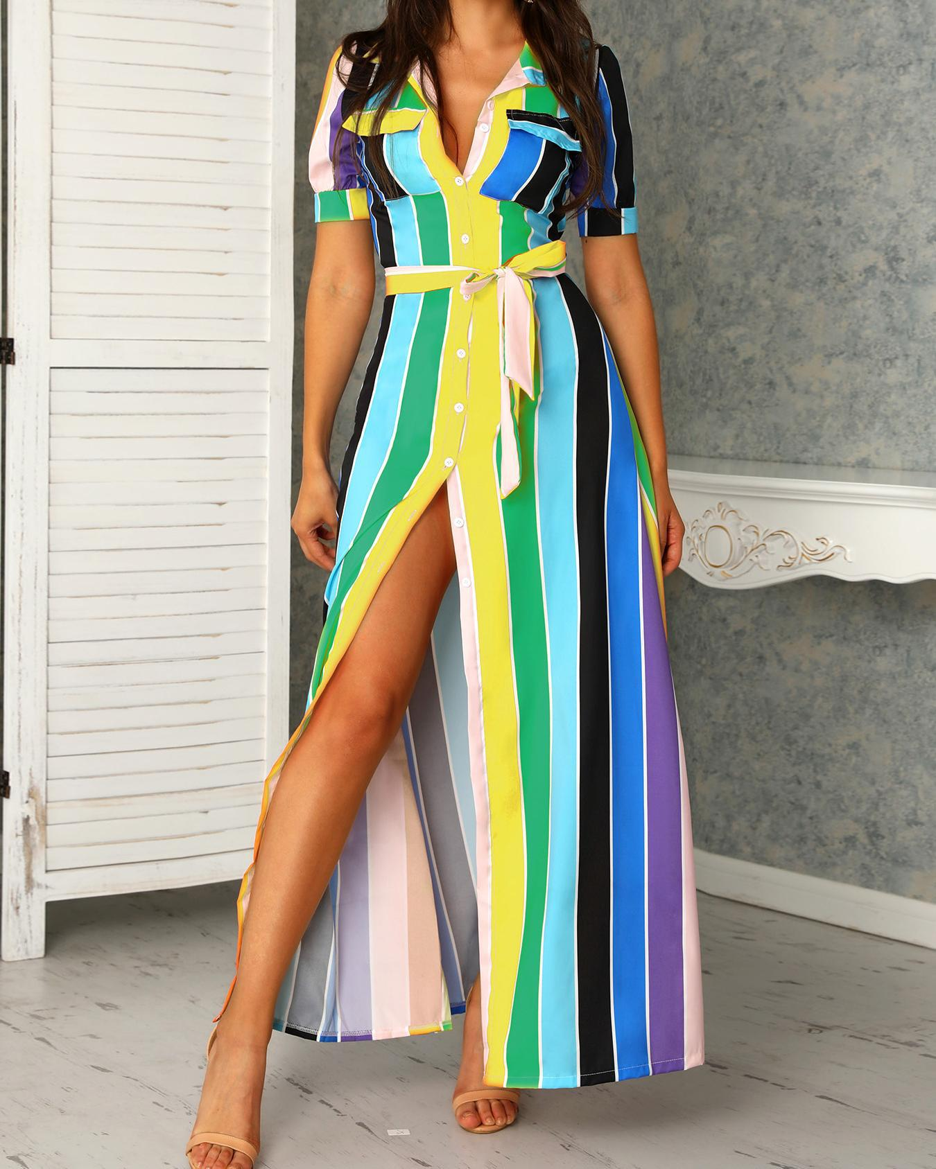 joyshoetique / Rainbow Color Striped Buttoned Shirt Maxi Dress