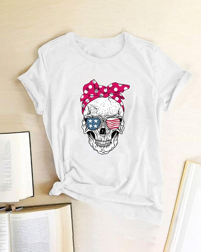 Skull Star Print Striped Shot Sleeve Casual T-shirt фото