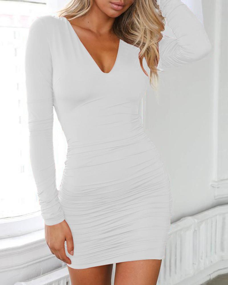 Solid Long Sleeve Ruched Crisscross Backless Dress фото