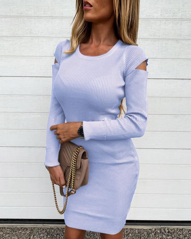 Solid Cut Out Ribbed Knitting Sweater Bodycon Dress фото