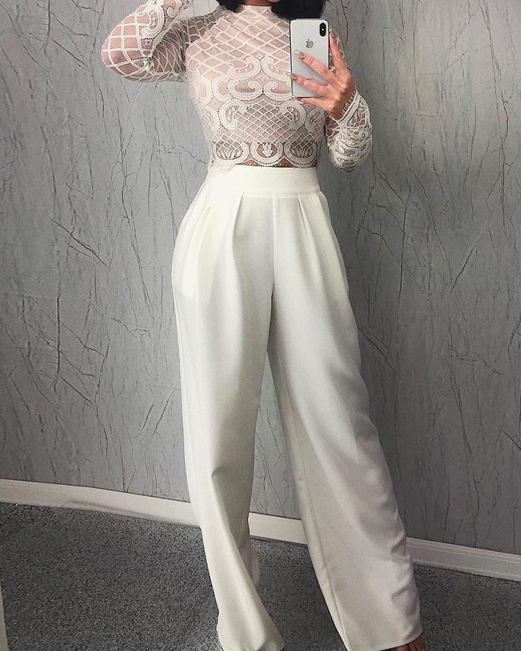 ivrose / Sheer Lace Top & Wide Leg Pant Sets