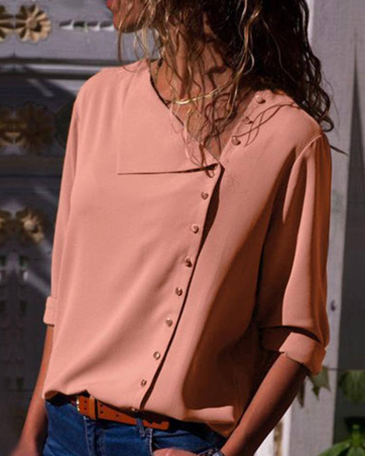 Solid Button Embellished Casual Blouse фото