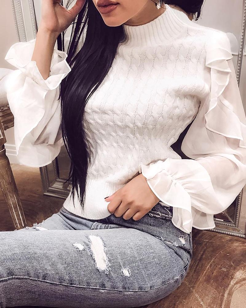 Solid Patchwork Mesh Ruffles Sleeve Casual Sweater фото