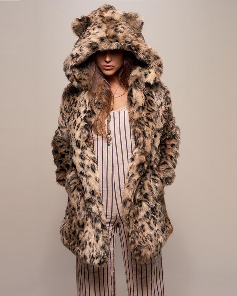 Cheetah Print Faux Fur Hooded Coat