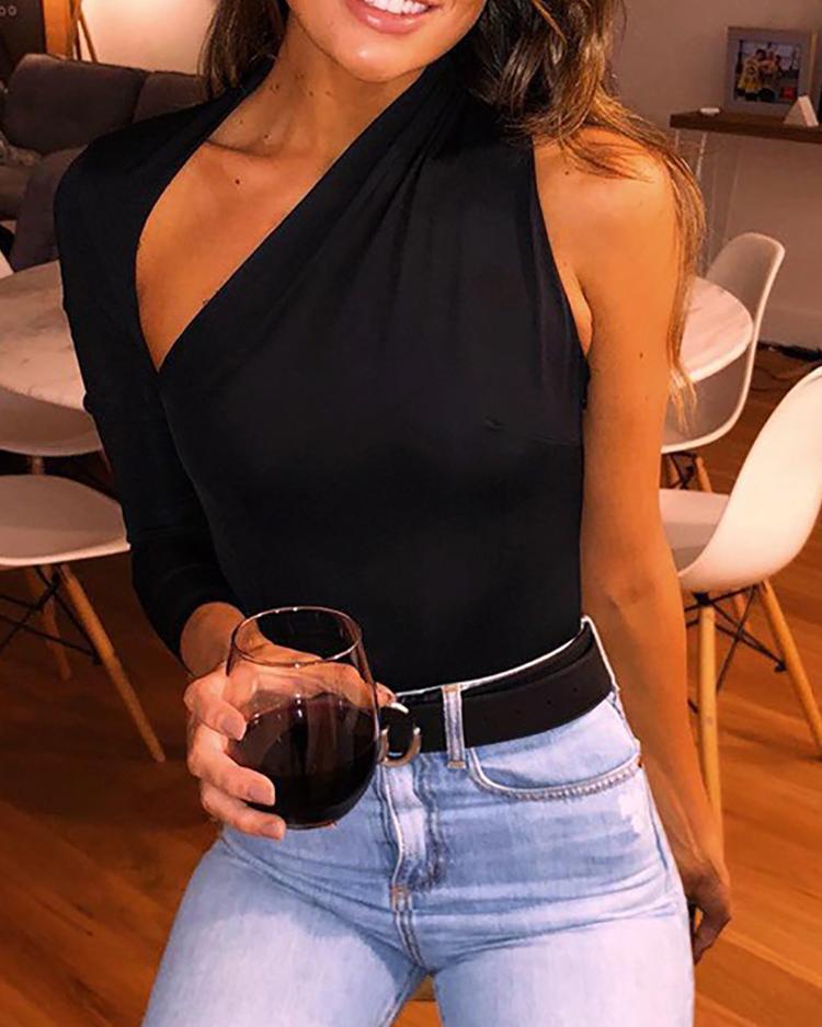 Solid One Shoulder Cutout Bodysuit фото