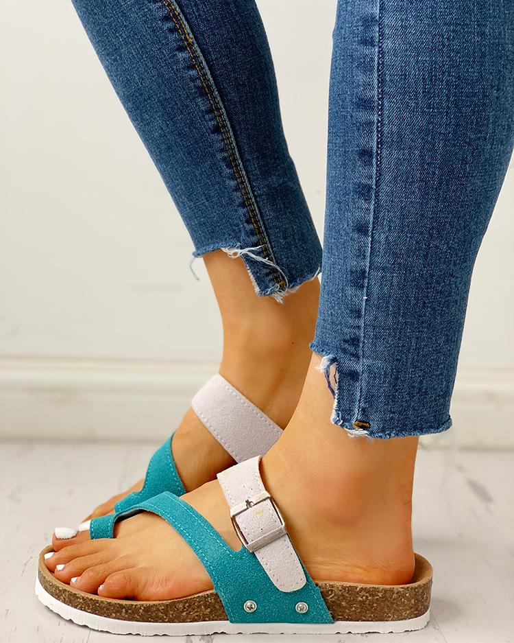 Contrast Color Buckled Flat Thong Sandals