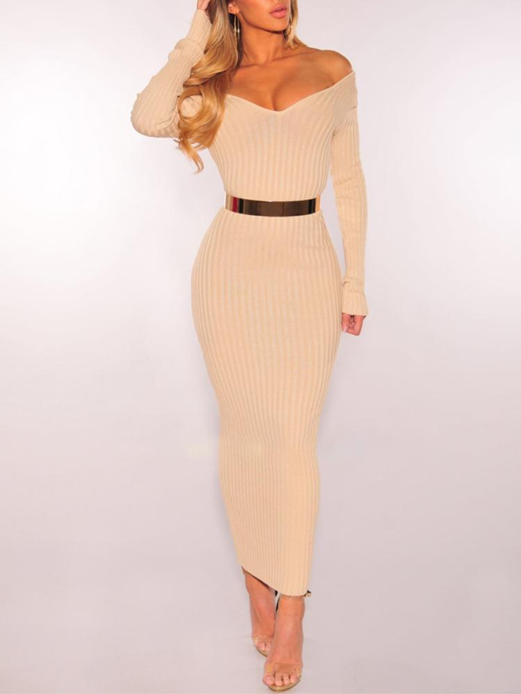 Off Shoulder Ribbed Slinky Maxi Dress