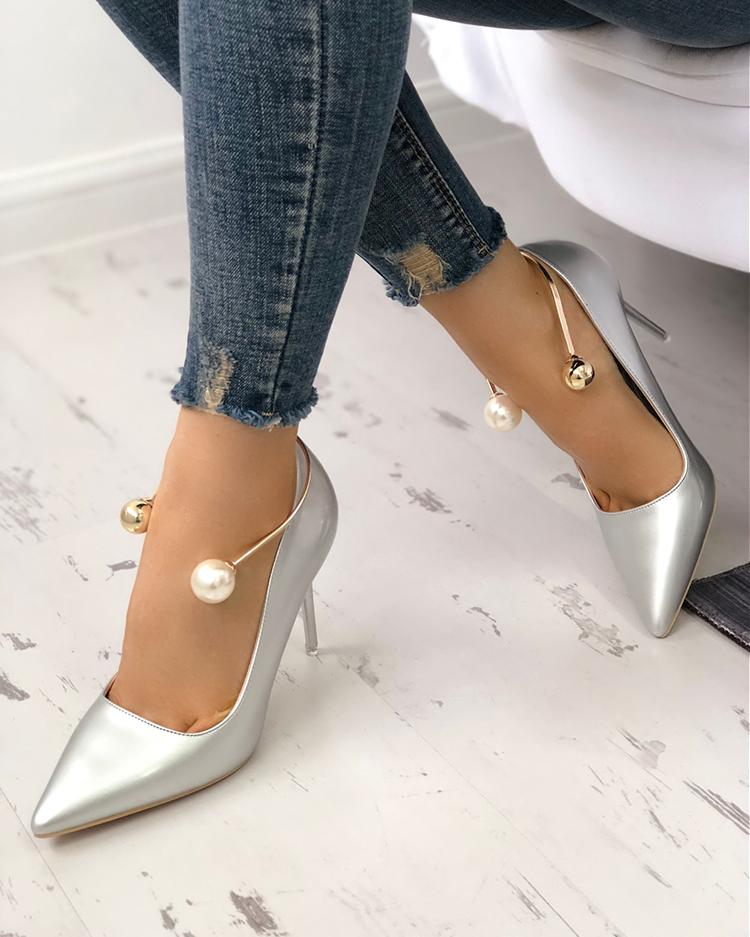 joyshoetique / Stylish Beading Decorated Pointed Toe Thin Pumps