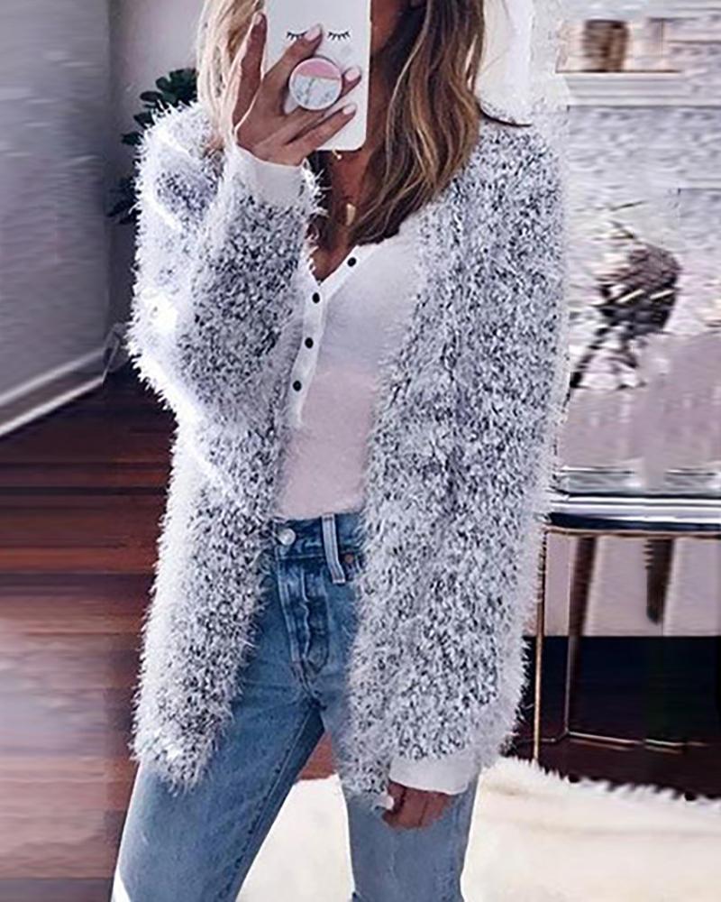 Solid Fluffy Long Sleeve Casual Cardigan фото