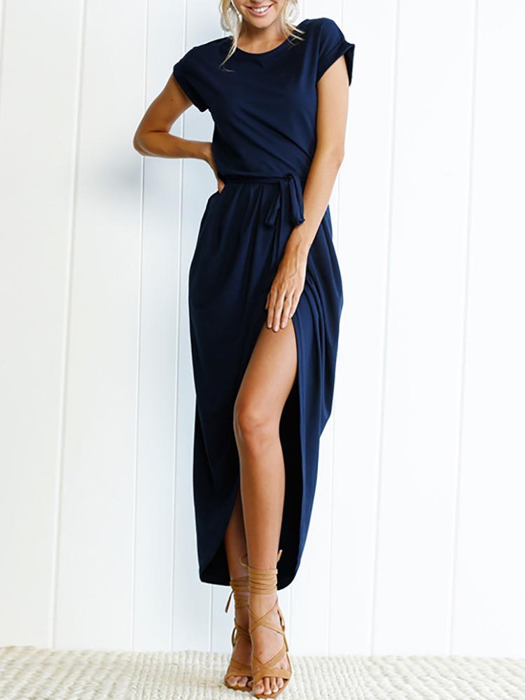 Split Tied Waist Maxi Dress