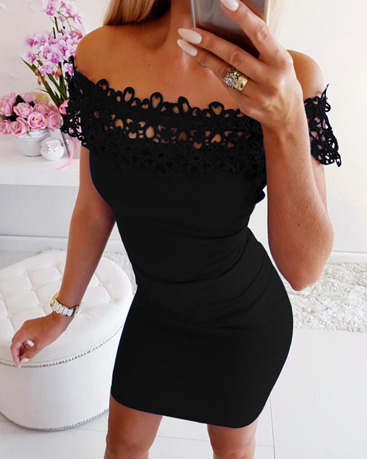 Off Shoulder Lace Insert Bodycon Dress фото
