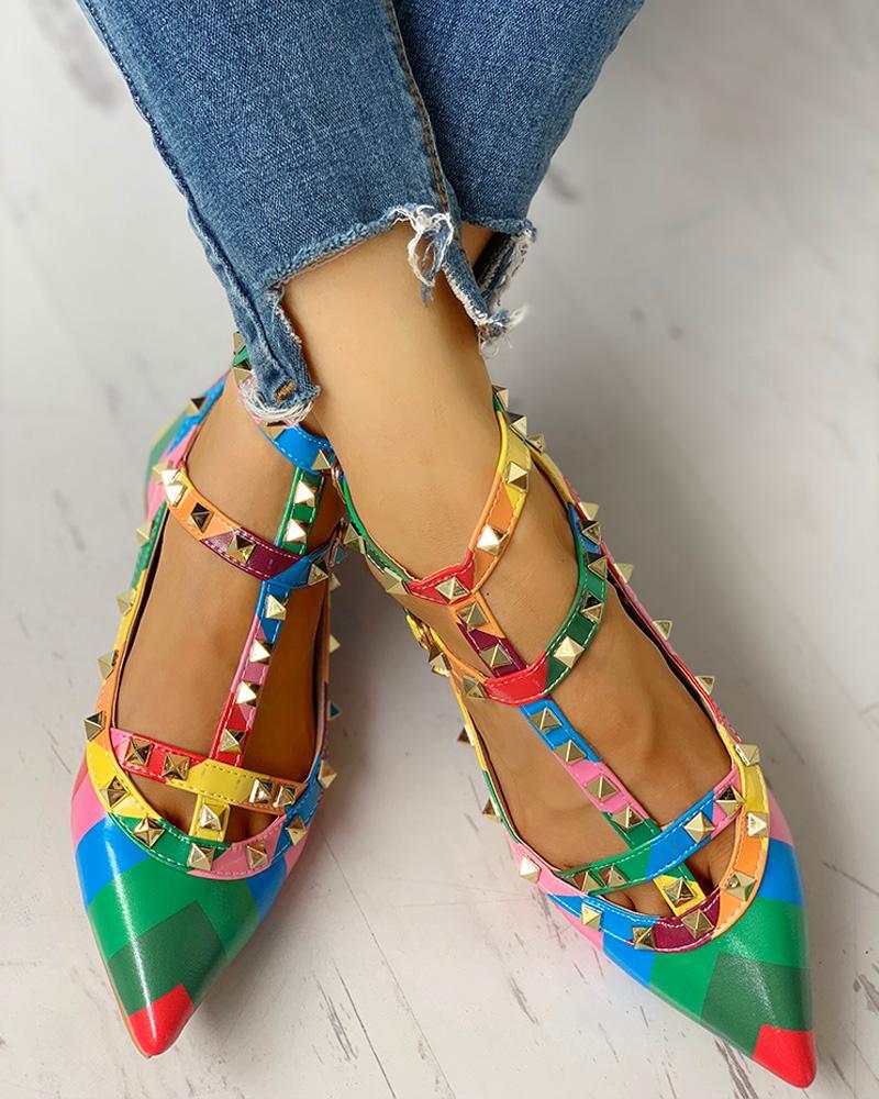 boutiquefeel / Chaussures plates à empiècements colorés avec insertion de rivets