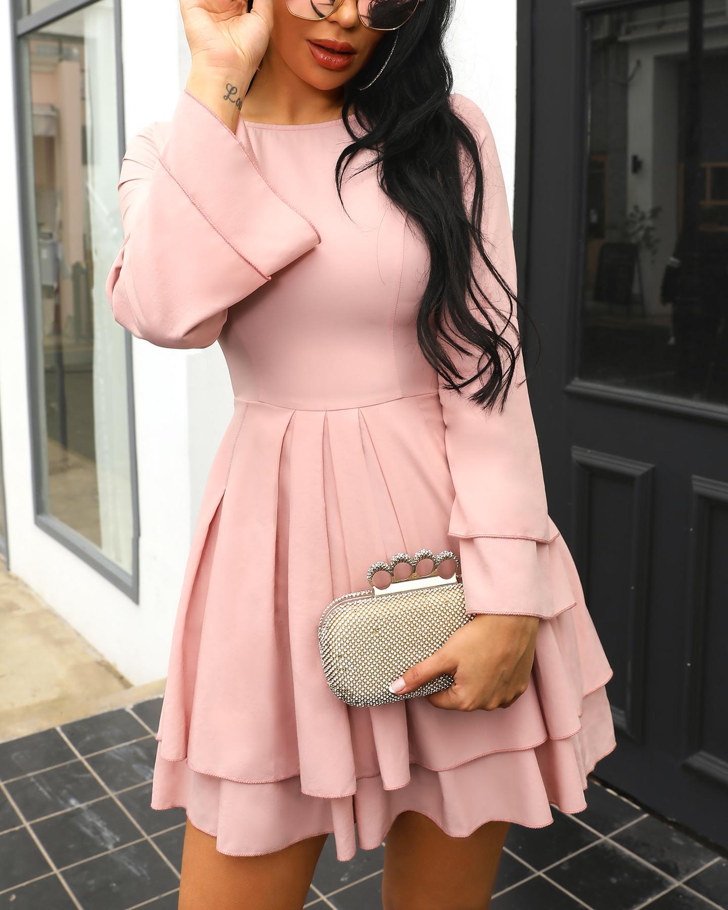 chicme / Moda Flounce campana plisado mini vestido