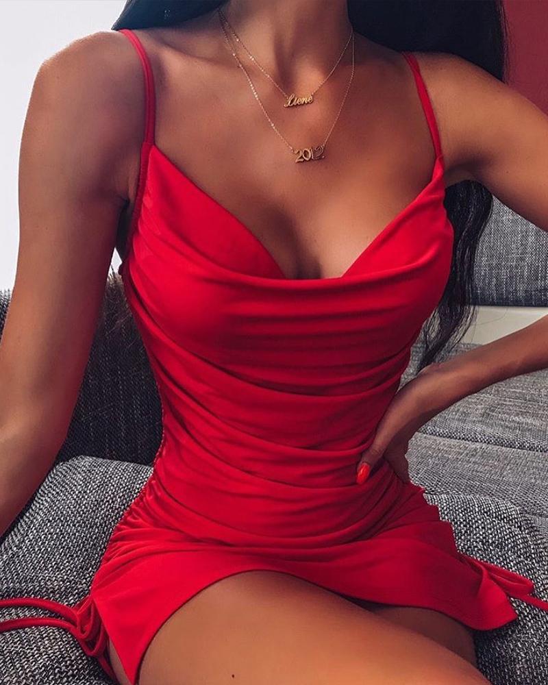 Low Cut Bodycon Cami Dress фото