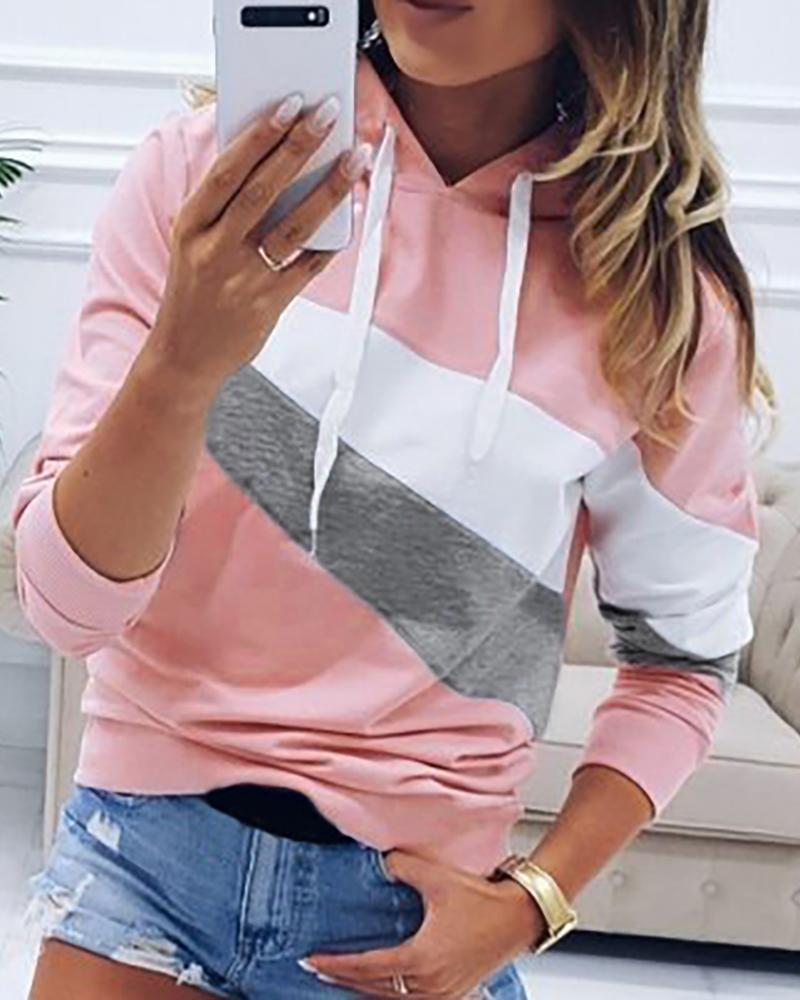 Hooded Drawstring Colorblock Sweatshirt фото