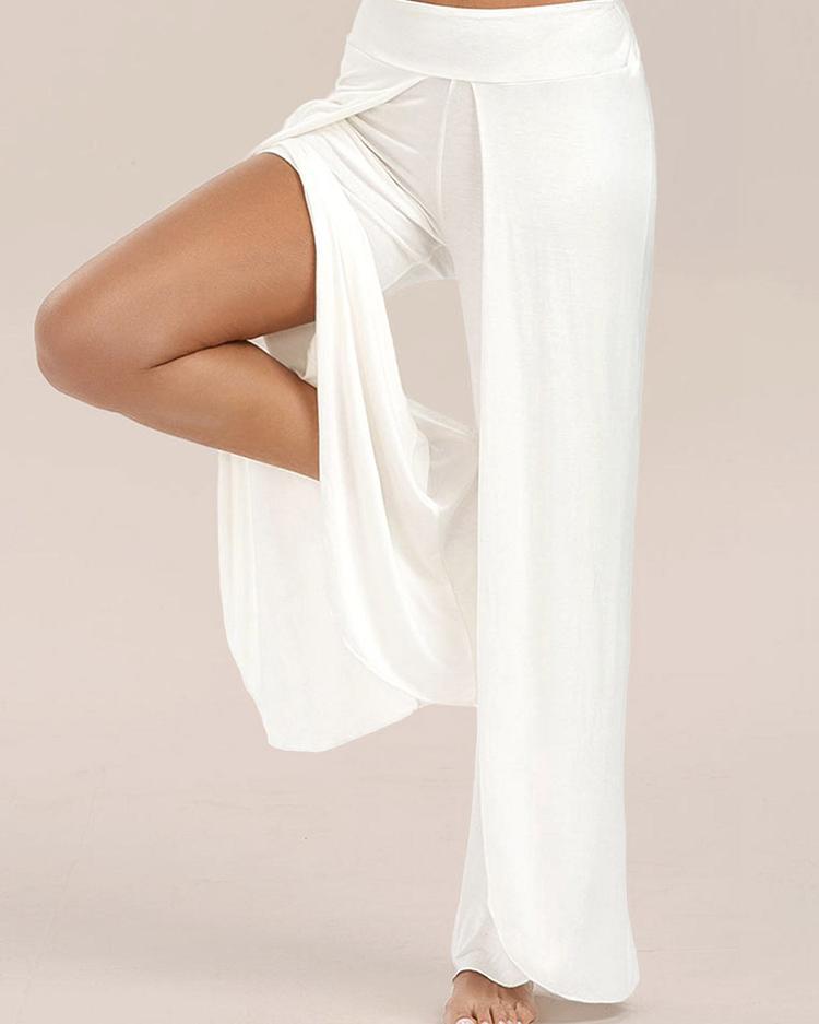 Stylish Solid High Slit Wide Leg Yoga Pants