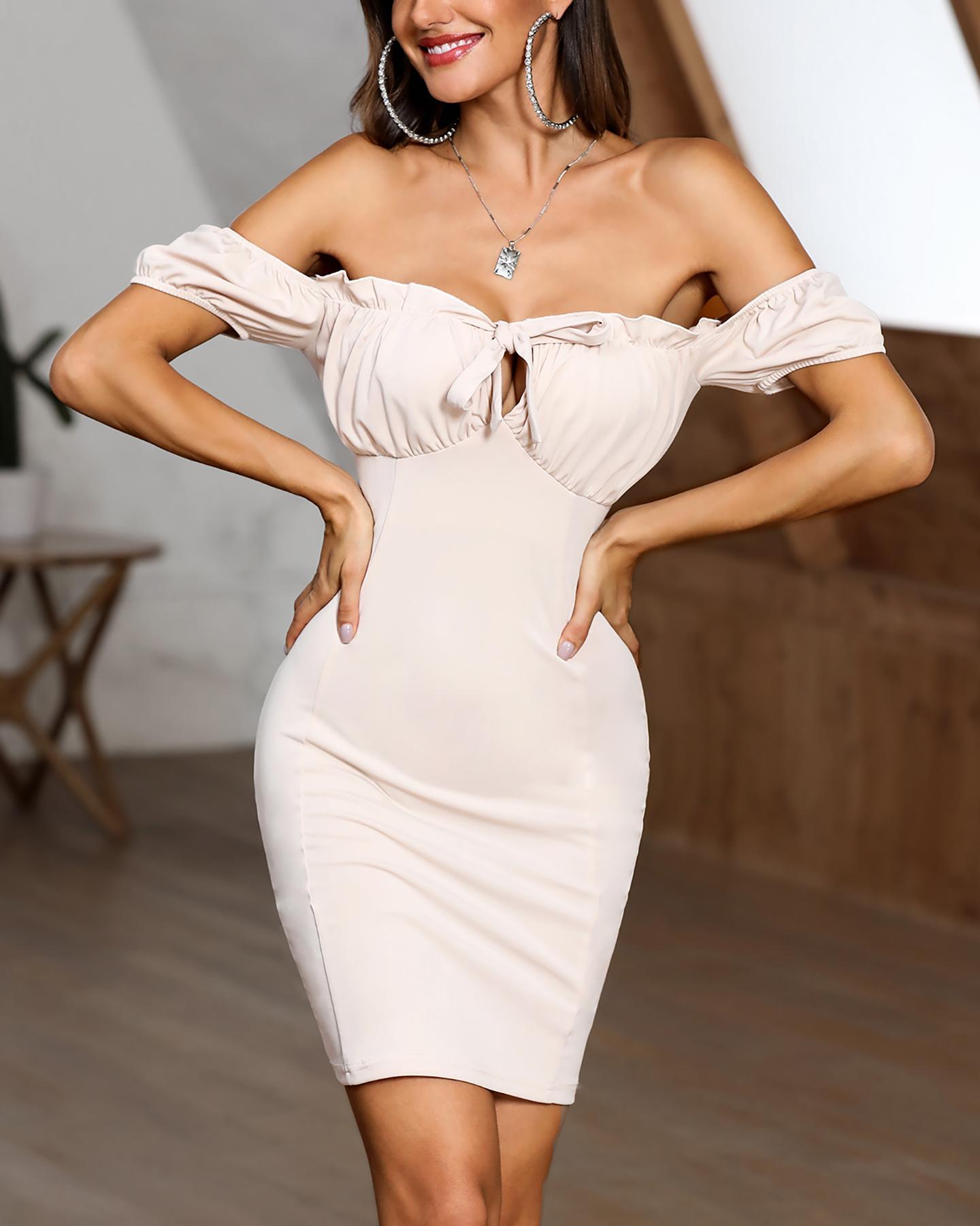 Off Shoulder Frill Hem Bodycon Dress фото