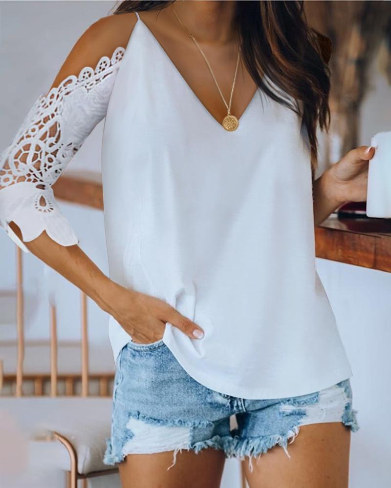 Cold Shoulder Crochet Lace Hollow Out Blouse фото