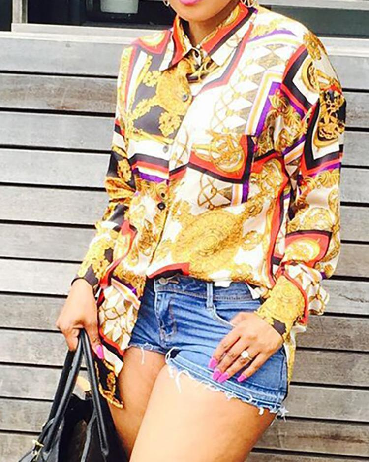 Long Sleeve Scarf Print Casual Blouse