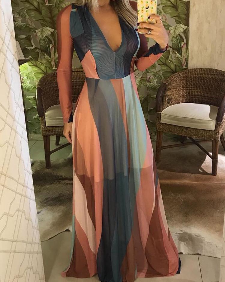 Color Block Splicing Plunge Neck Maxi Dress, Multicolor