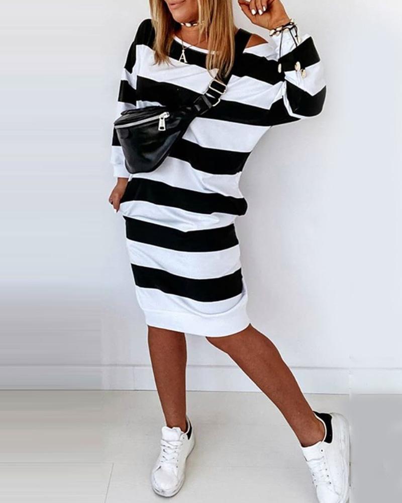 Striped Colorblock Casual Midi Dress фото