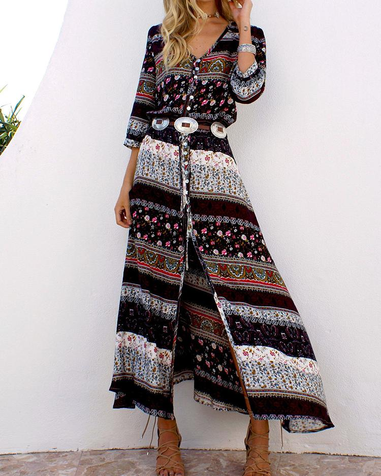 ivrose / Ethnic Printed Bandage Boho Maxi Dress