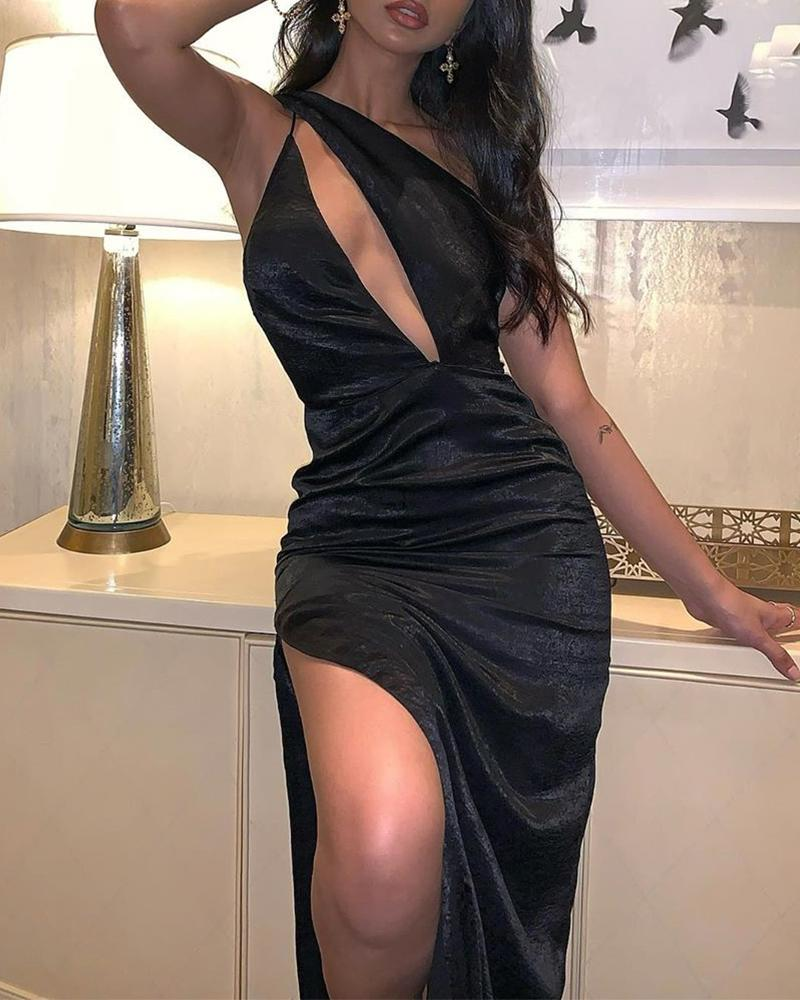 One Shoulder Cut Out Slit Dress, Black