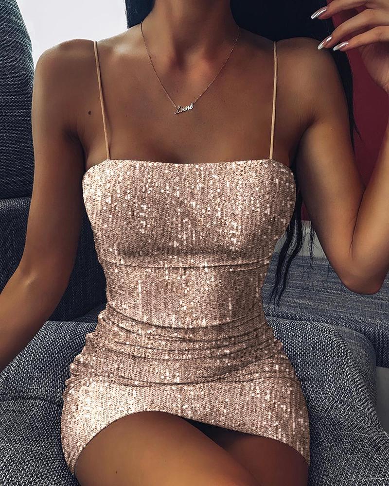 chicme / Vestido de lentejuelas con correa de espagueti con purpurina