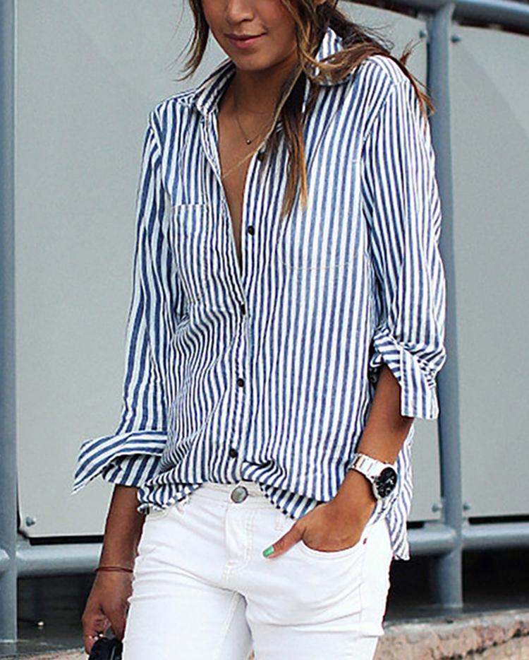 boutiquefeel / Stripe Print Turn-Down Collar Camisa solta Blusa