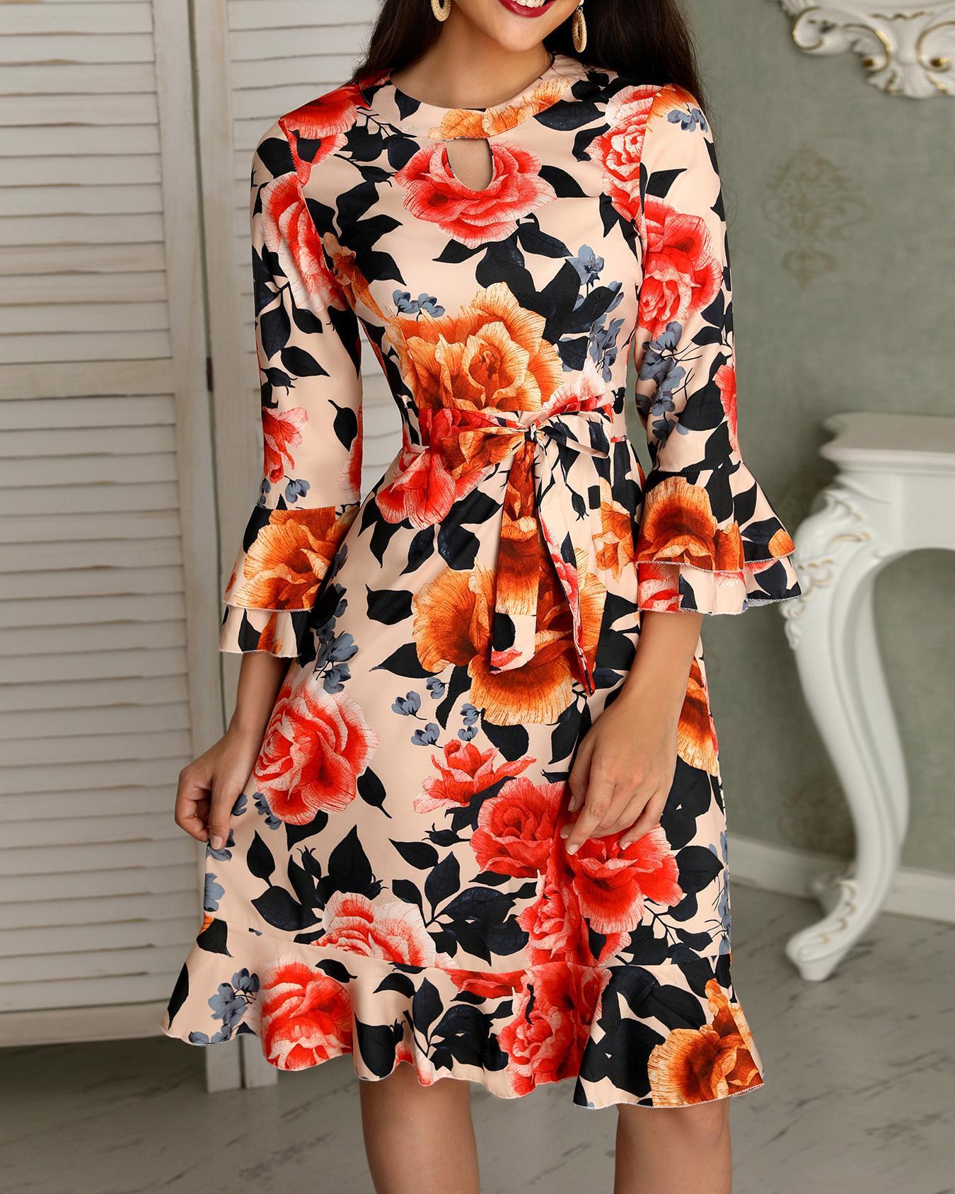 Floral Print Cutout Ruffles Flared Sleeve Casual Dress фото