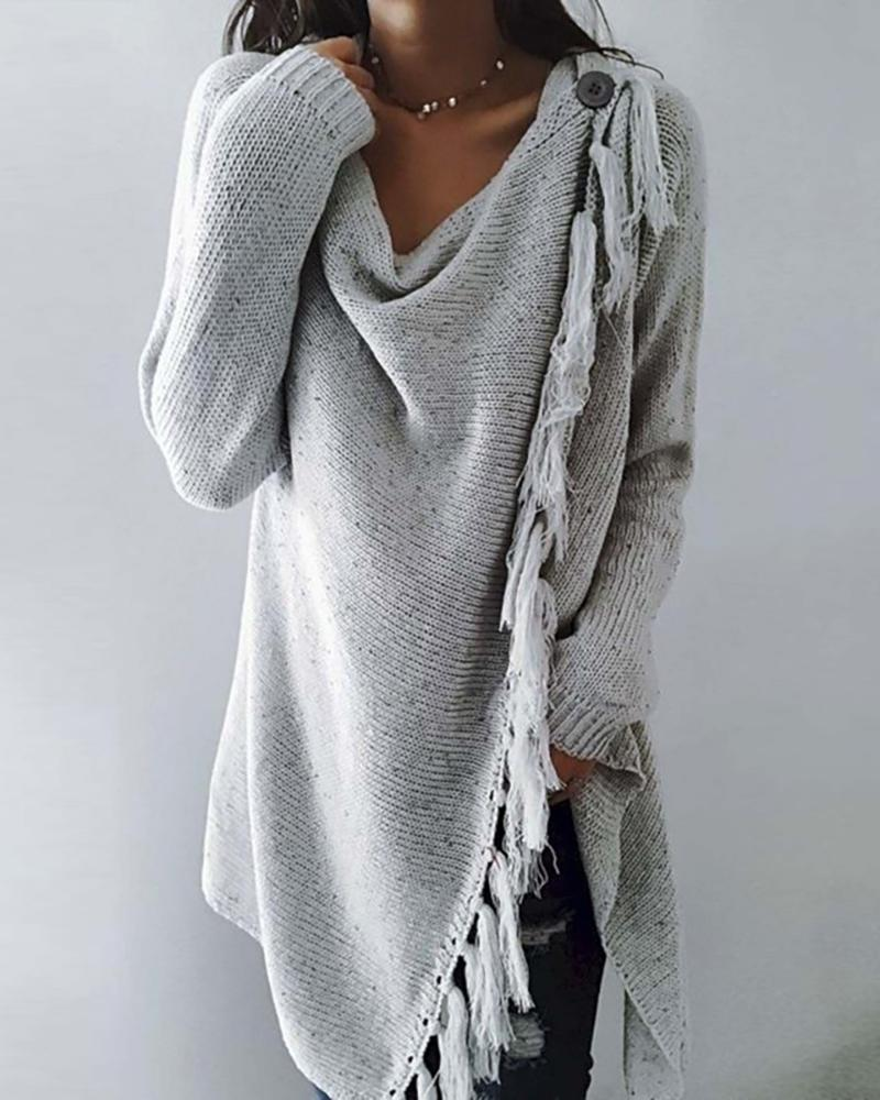 chicme / Button Decor Tassel Design Slit Sweater