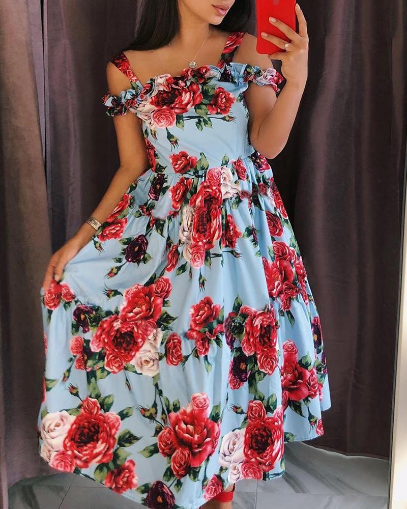 Floral Print Shirring Cold Shoulder Casual Dress фото