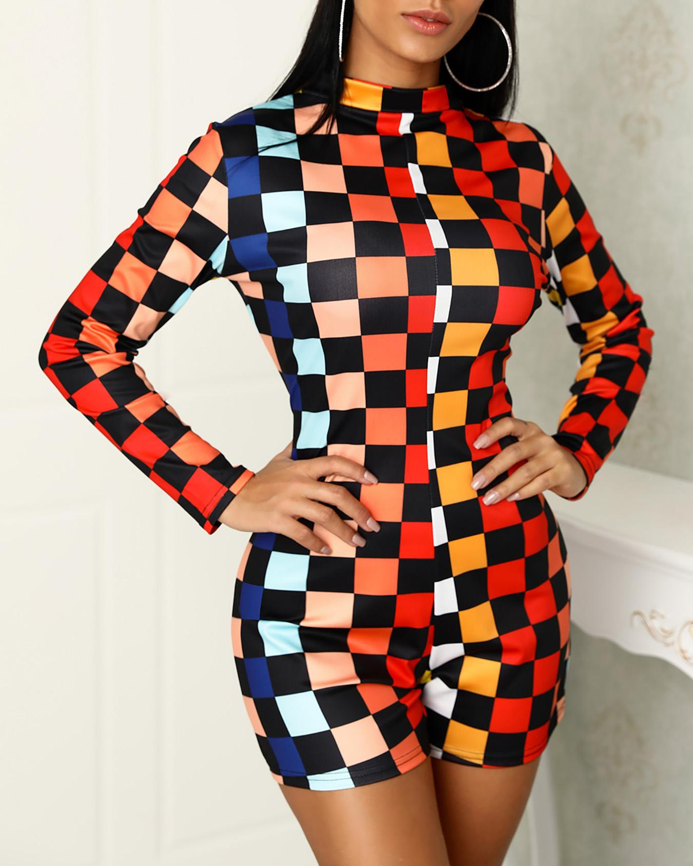 Colorful Checkboard Print Reversible Rompers фото