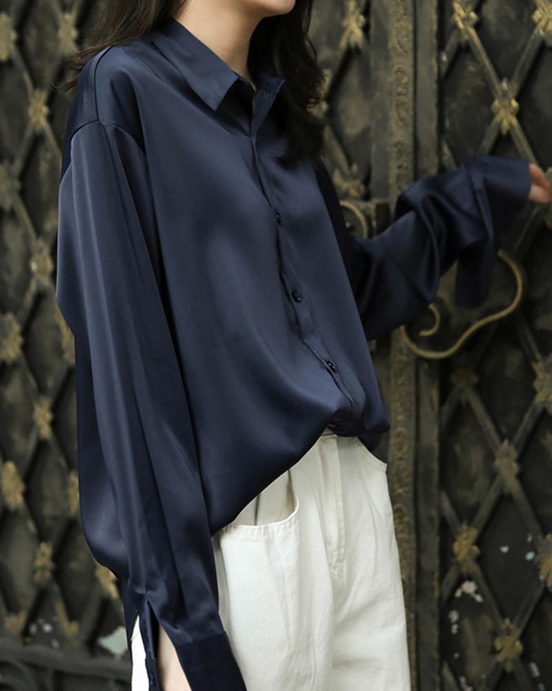 chicme / Camisa de satén con botones y manga larga sólida