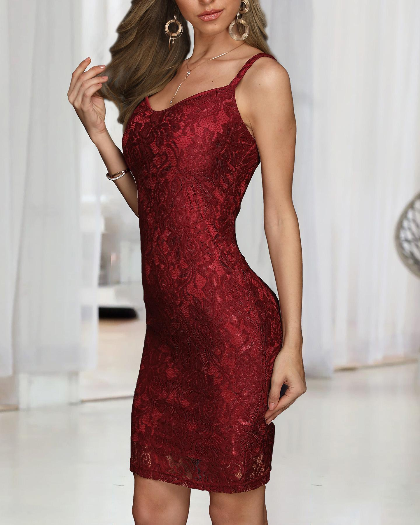 ivrose / Crochet Lace Bodycon Slip Dress