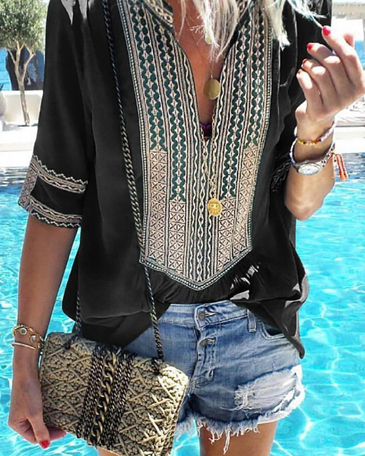 Ethnic Print Splicing V-Neck Casual Blouse фото