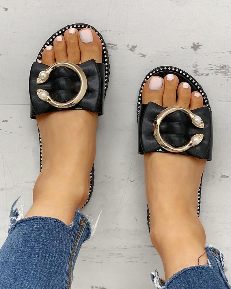 ivrose / Studded Bead Ring Design Flat Sandals