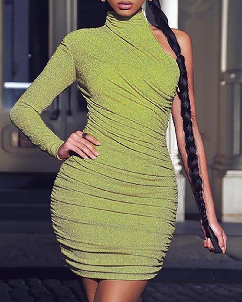 boutiquefeel / Glitter um ombro Ruched vestido Bodycon