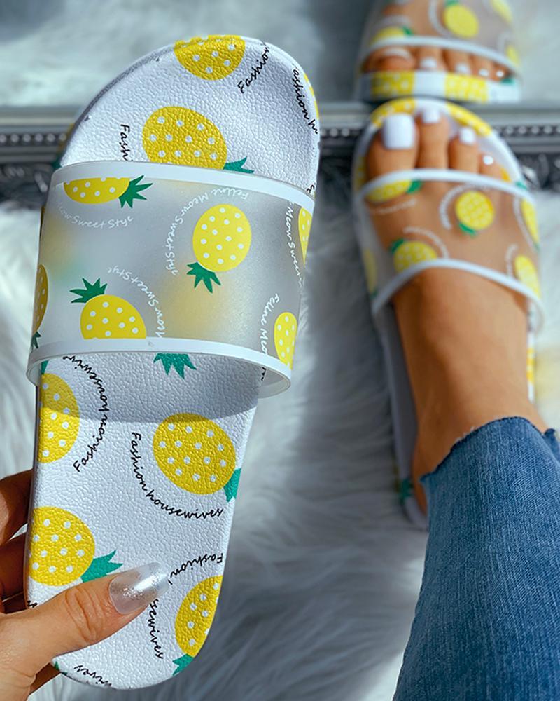 Transparent Pineapple Pattern Flat Sandals фото