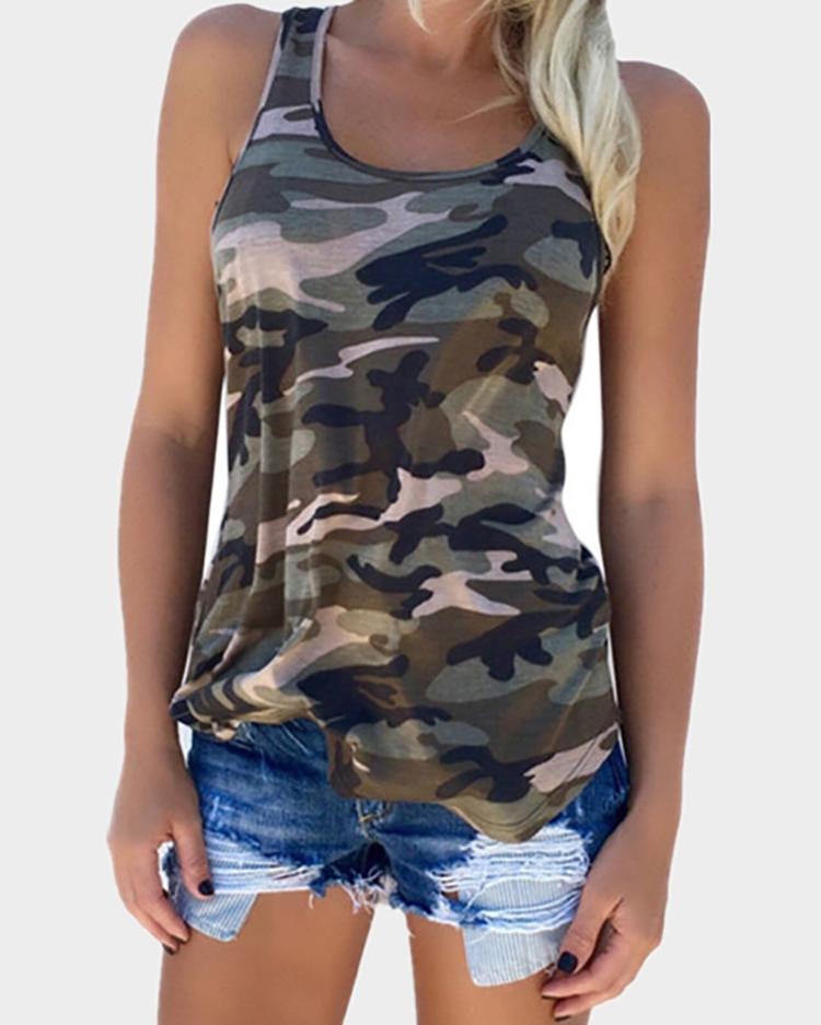 Camouflage Print Racer Back Tank Top