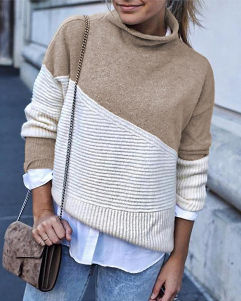 Colorblock Long Sleeve Knit Sweater фото