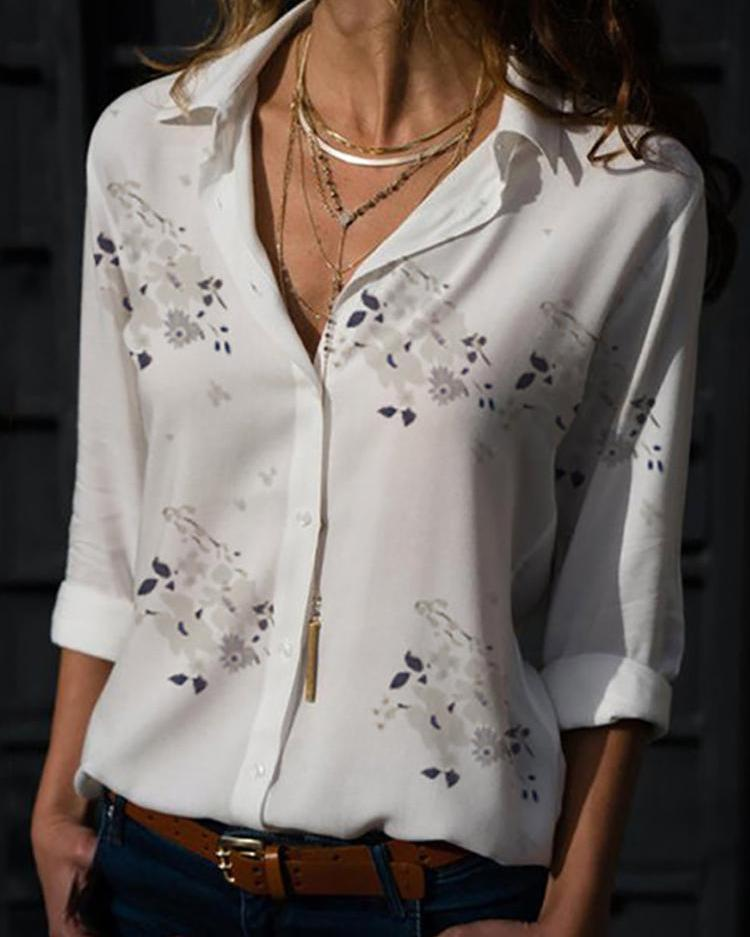 Floral Print Long Sleeve Casual Shirt, White