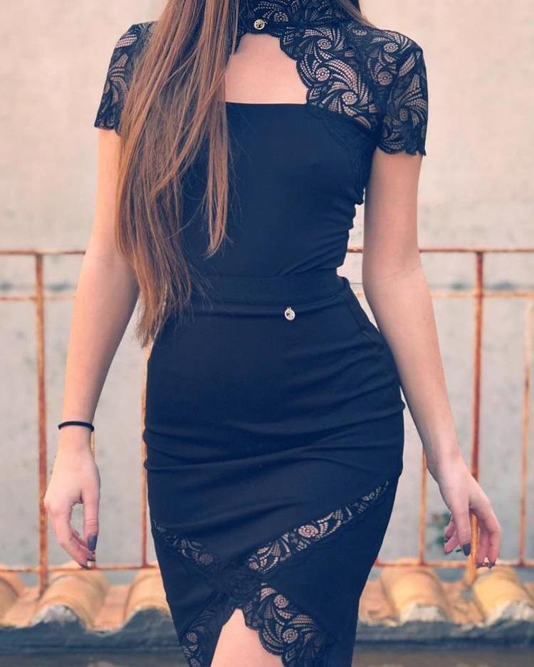 Mock Neck Lace Embelished Bodycon Dress фото