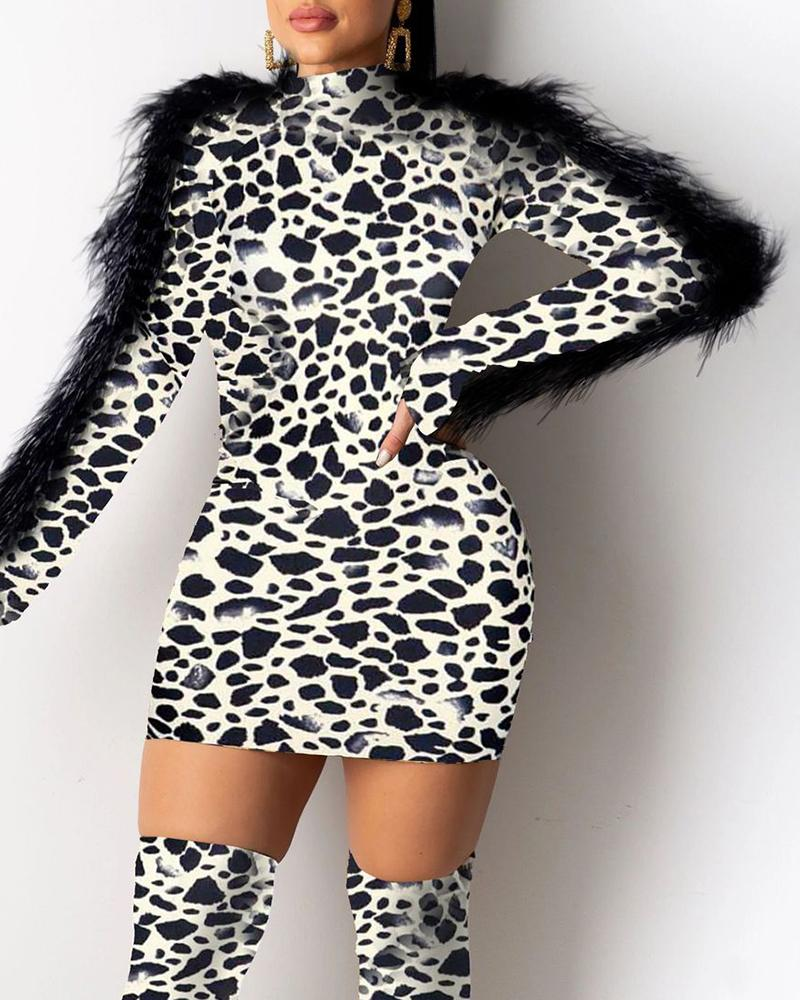 boutiquefeel / Mock Neck Feather Insert manga comprida Leopard Bodycon Dress