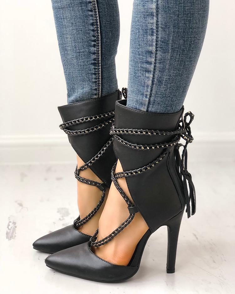 ivrose / Point Toe Chains Lace-up Thin High Heels
