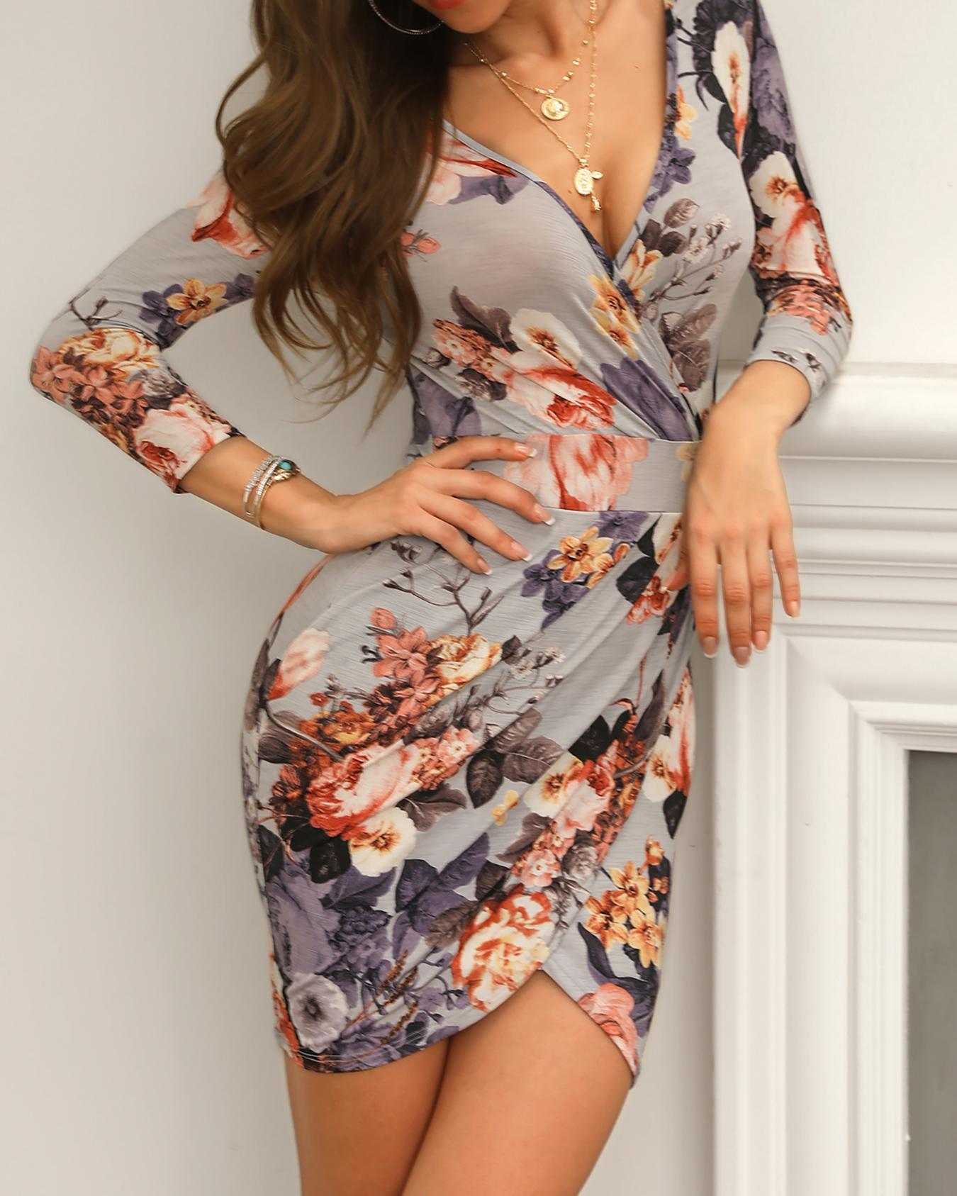 Surplice Ruched Front Open Back Floral Dress, Multicolor