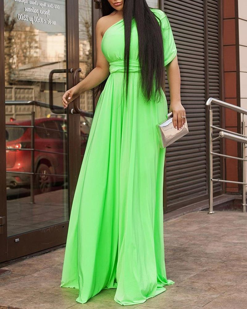 Solid One Sleeve Maxi Dress, Light green