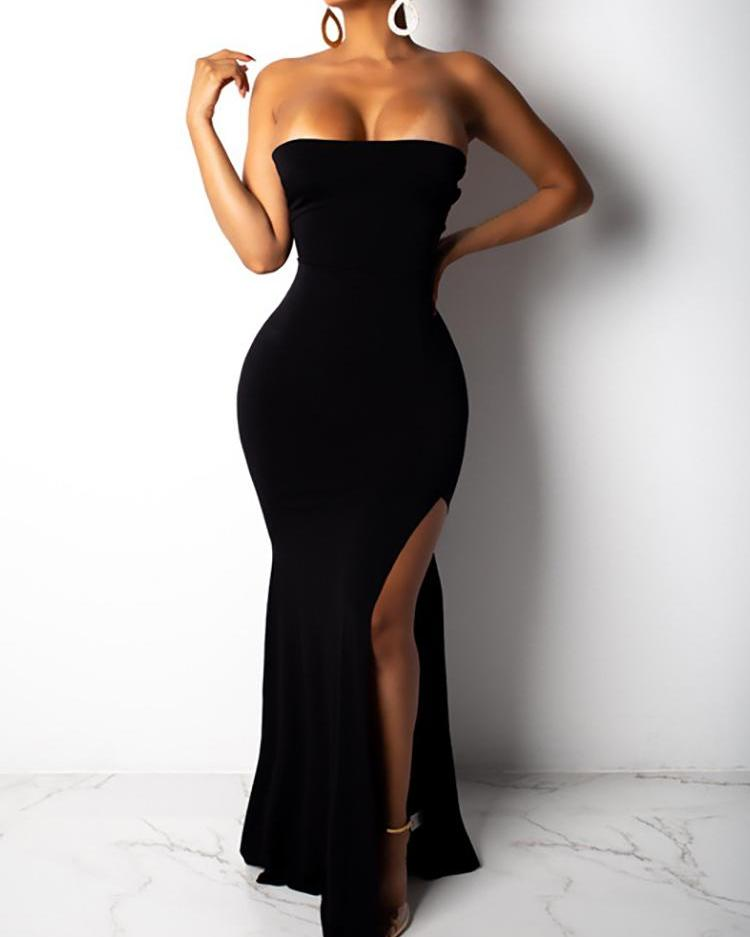 Thigh Slit Lace-Up Back Tube Evening Dress